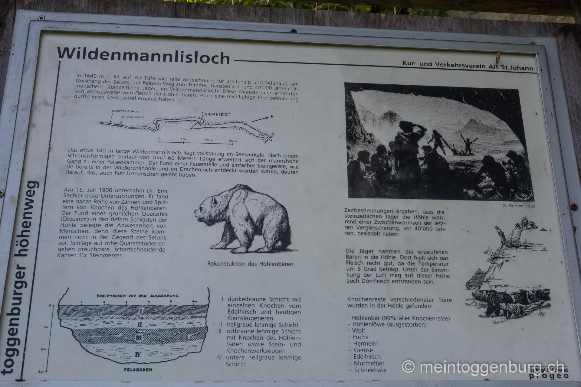 Toggenburger Sagenweg - Infotafel Wildmannlisloch